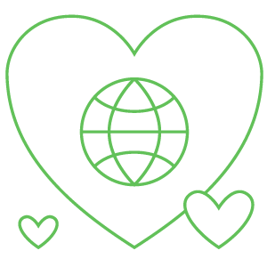An image of a heart with a globe in the middle