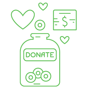 A drawing of a bottle with the label donate. Coins are inside the bottle