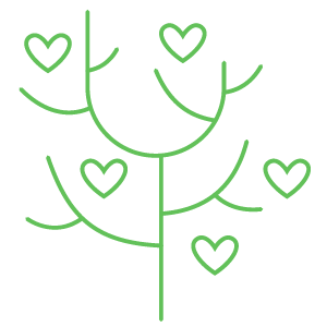 A drawing of a tree with leaves made of hearts